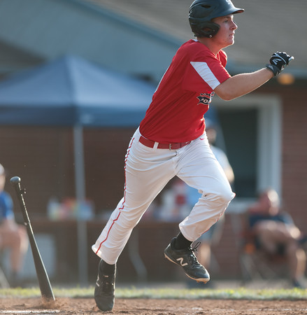 07/31/18 Wesley Bunnell | Staff Southington vs Cheshire in the American Legion State Tournament at Ceppa Field in Meriden on Tuesday night. Jake Romano (8).