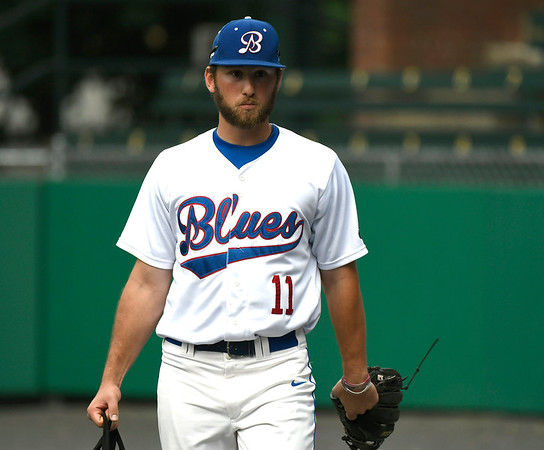7/3/2018 Mike Orazzi | Staff The Bristol Blues' Kyle Haag (11) Tuesday night at Muzzy Field.