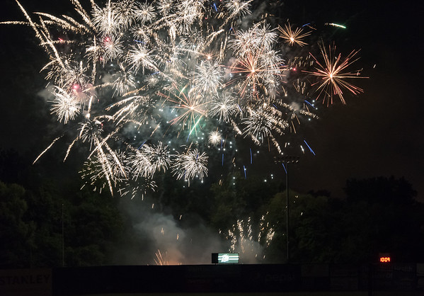 07/03/18 Wesley Bunnell | Staff Fireworks beyond the left center field wall at New Britain Stadium following a New Britain Bees victory of the Long Island Ducks on Tuesday July 3rd in honor of Independence Day.