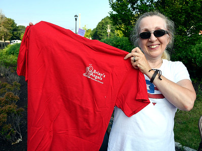7/4/2018 Mike Orazzi | Staff Susan Stewart while collecting food items for Brian's Angles Homeless Outreach during Wednesday night's Bristol Blues game at Muzzy Field.
