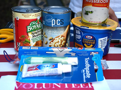 7/4/2018 Mike Orazzi | Staff Food items collected for Brian's Angles Homeless Outreach during Wednesday night's Bristol Blues game at Muzzy Field.