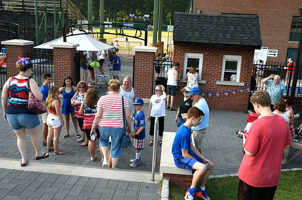 7/4/2018 Mike Orazzi | Staff Fans arrive during Wednesday night's Bristol Blues game at Muzzy Field.