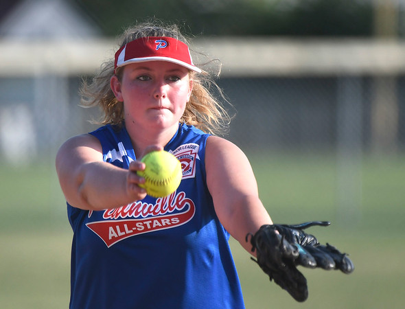 7/5/2018 Mike Orazzi | Staff Plainville's Whitney Southhall (16) during Thursday nights District 5 softball game with Bristol at Casey Field in Bristol.
