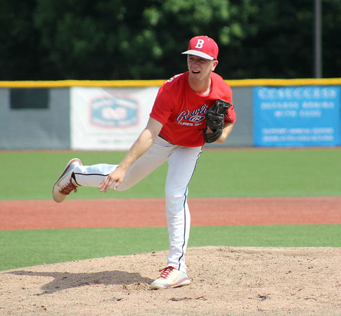 07/05/18 David Glovach | Staff Bristol's Alec Diloreto (10) pitches during the Rawlings Futures Showcase featuring American Legion players at CCSU on Thursday morning.