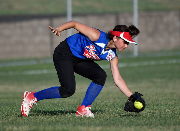 7/5/2018 Mike Orazzi | Staff Plainville's Alexandra Frigugliett (22) during Thursday nights District 5 softball game with Bristol at Casey Field in Bristol.