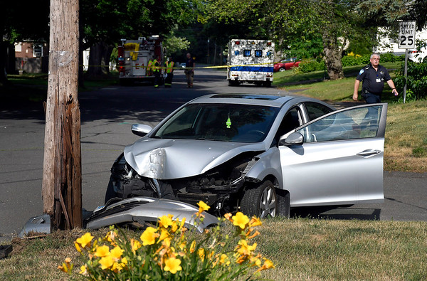 7/5/2018 Mike Orazzi | Staff The scene of a one-car crash on Sycamore Street in Bristol near the intersection with Emmett Street Thursday afternoon. One was transported to Bristol Hospital.