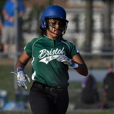 7/5/2018 Mike Orazzi | Staff Bristol's Jasmine Perez (13) during Thursday nights District 5 softball game with Plainville at Casey Field in Bristol.