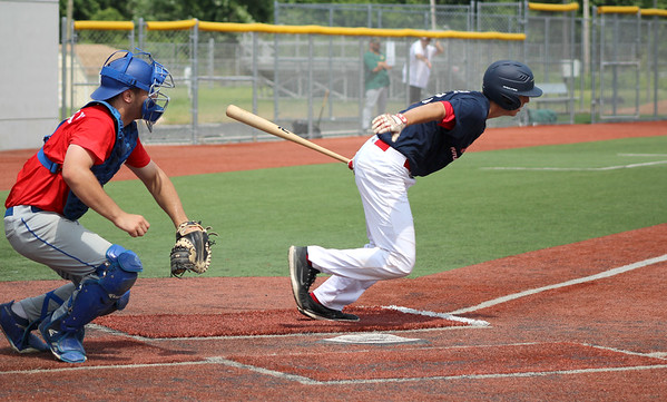 07/05/18 David Glovach | Staff Berlin's Ryan Hyde (12) at bat during the Rawlings Futures Showcase featuring American Legion players at CCSU on Thursday morning.