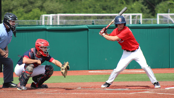07/05/18 David Glovach | Staff Bristol's Alec Diloreto (10) at bat with Berlin's catcher Ryan Hyde (12) during the Rawlings Futures Showcase featuring American Legion players at CCSU on Thursday morning.