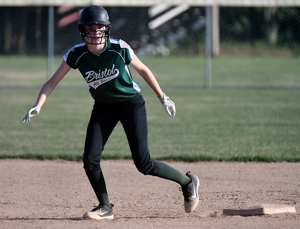 7/5/2018 Mike Orazzi | Staff Bristol's Kayla St. Onge (16) during Thursday nights District 5 softball game with Plainville at Casey Field in Bristol.