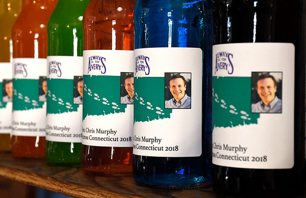 7/7/2018 Mike Orazzi | Staff Connecticut Senator Chris Murphy soda at Avery Beverage in New Britain Saturday.