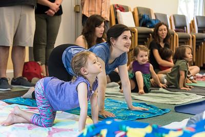 """Family yoga"" at the Davidson Library. (BillGiduz photo)"
