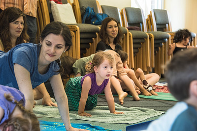 """Family yoga"" at the Davidson Library. (BillGiduz photo)"