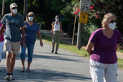 Protestors walked to the monument along Zion Street. (Bill Giduz photo)