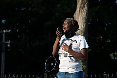 A representative of the Smithville coalition expressed the importance of her family in her activism. (Bill Giduz photo)