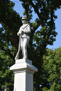 The Confederate soldier monument has stood in front of Mt. Zion Methodist church in Cornelius since 1922, (Bill Giduz photo)