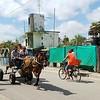 Workers pass through the folk-art neighborhood Fusterlandia<br /> in Havana, Cuba on March 13, 2018. JACOB VITALI/LOWELL SUN.