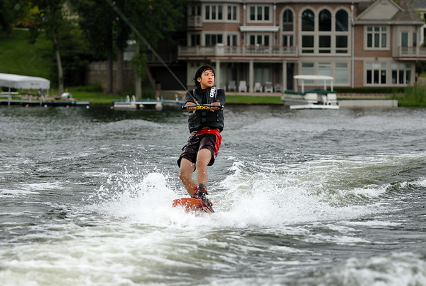 7/4/09 Jonas wakeboarding on Cass Lake