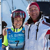 Sarah Hendrickson with her father<br /> Ski Jumping<br /> 2018 U.S. Oympic Team Trials at the UOP<br /> Photo: U.S. Ski & Snowboard