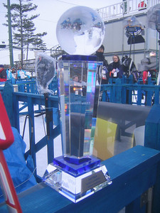 The FIS trophy for silver in the nordic combined individual event, won by Bill Demong (credit: Doug Haney/U.S. Ski Team)