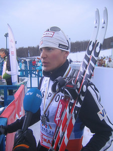 Demong does an inverview with Norwegian television following his silver medal finish (credit: Doug Haney/U.S. Ski Team)
