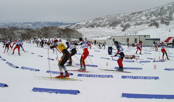Skiers start with a new 'Hurricane Start' to open a World Cup B Nordic Combined in Soldier Hollow, UT