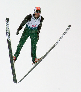 Johnny Spillane wins the 2008 backcountry.com U.S. Ski Jumping Championships, HS100 normal hill. Photo: Tom Kelly/U.S. Ski Team