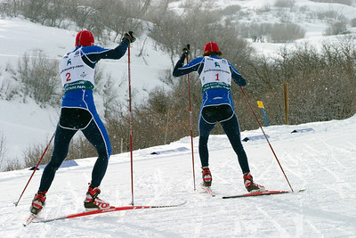 Bill Demong (2) chased Johnny Spillane (1) - Nordic combined sprint, Soldier Hollow, Utah, 2008 backcountry.com U.S. Nordic Combined Championships. Photo: Tom Kelly/U.S. Ski Team