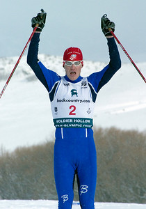 Bill Demong crosses the finish line - Nordic combined sprint, Soldier Hollow, Utah, 2008 backcountry.com U.S. Nordic Combined Championships. Photo: Tom Kelly/U.S. Ski Team
