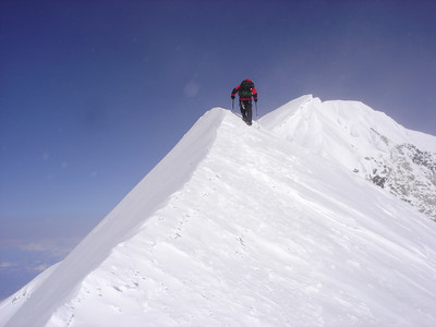 Scott Wazny approaching the summit of Alaska's Denali on May 16, 2007 (credit: Aaron Saari)