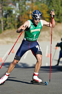 Bill Demong skates with his Maplus roller skis on his way to a silver medal in the U.S. Nordic Combined Championships.  U.S. Ski Jumping Championships - Oct. 11, 2008 - Lake Placid, NY Photo © Kris Dobie Images in this gallery may be used only for editorial use with advance approval by USSA.