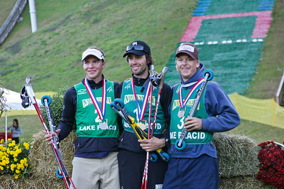 U.S. Nordic Combined Championships podium including (l-r) Bill Demong (silver), Johnny Spillane (gold), Todd Lodwick (bronze).  U.S. Ski Jumping Championships - Oct. 11, 2008 - Lake Placid, NY Photo © Kris Dobie Images in this gallery may be used only for editorial use with advance approval by USSA.