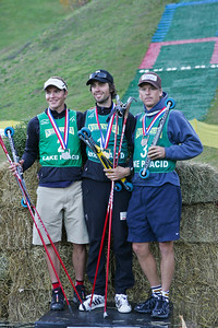 U.S. Ski Jumping Championships men's podium including (l-r) Johnny Spillane (silver), Anders Johnson (gold), Bill Demong (bronze).  U.S. Ski Jumping Championships - Oct. 11, 2008 - Lake Placid, NY Photo © Kris Dobie Images in this gallery may be used only for editorial use with advance approval by USSA.