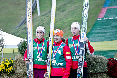 U.S. Ski Jumping Championships women's podium including (l-r) Jessica Jerome (silver), Lindsey Van (gold), Alissa Johnson (bronze).  U.S. Ski Jumping Championships - Oct. 11, 2008 - Lake Placid, NY Photo © Kris Dobie Images in this gallery may be used only for editorial use with advance approval by USSA.