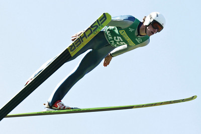 Anders Johnson soars to the U.S. Ski Jumping Championships title in Lake Placid.  U.S. Ski Jumping Championships - Oct. 11, 2008 - Lake Placid, NY Photo © Kris Dobie Images in this gallery may be used only for editorial use with advance approval by USSA.