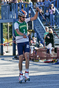 Johnny Spillane raises his hand in victory as he takes the U.S. Nordic Combined Championships title.  U.S. Ski Jumping Championships - Oct. 11, 2008 - Lake Placid, NY Photo © Kris Dobie Images in this gallery may be used only for editorial use with advance approval by USSA.