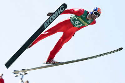 Johnny Spillane soars to second in ski jumping before going on to win the U.S. Nordic Combined Championships.  U.S. Ski Jumping Championships - Oct. 11, 2008 - Lake Placid, NY Photo © Kris Dobie Images in this gallery may be used only for editorial use with advance approval by USSA.
