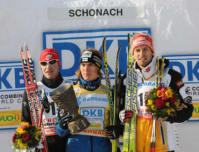 (l to r) Billy Demong (Vermontville, NY) on the podium with Finland's Anssi Koivuranta (winner) and Germany's Bjoern Kircheisen from the Schonach, Germany World Cup (Jan. 4, 2009). Photo © Egon Theiner/FIS/nordic-combined.com