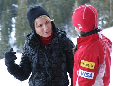 U.S. Ski Team ski jumper, Sarah Hendrickson, is interviewed by Travel Channel's Samantha Brown for the show 'Samantha Brown: Passport to Great Weekends'. Photo: Katie Perhai/U.S. Ski Team