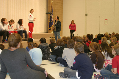 Members of the Women's U.S. Ski Jumping team visit 4th graders at Trailside Elementary School in Park City, Utah on Dec. 4th, 2008.  Photo: Carolyn Wawra/U.S. Ski Team