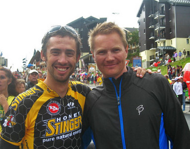 World nordic combined champion Johnny Spillane poses with U.S. Ski Team Coach Chris Gilbertson during the Tour de France stage 17 near Les Saisies. (Dave Jarrett/U.S. Ski Team)