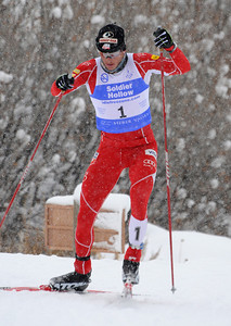 Todd Lodwick climbs uphill in a snowy FIS Nordic Combined Continental Cup on the Olympic trails at Soldier Hollow near Midway, Utah. (U.S. Ski Team/Tom Kelly)