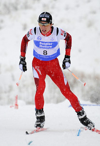 Austrian Tomaz Druml skis to second in a snowy FIS Nordic Combined Continental Cup on the Olympic trails at Soldier Hollow near Midway, Utah. (U.S. Ski Team/Tom Kelly)