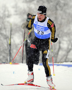 Germany's Steffen Tepel finishes third in a snowy FIS Nordic Combined Continental Cup on the Olympic trails at Soldier Hollow near Midway, Utah. (U.S. Ski Team/Tom Kelly)