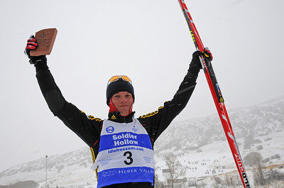 Germany's Steffen Tepel celebrates his third place finish in a snowy FIS Nordic Combined Continental Cup on the Olympic trails at Soldier Hollow near Midway, Utah. (U.S. Ski Team/Tom Kelly)
