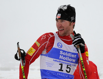 Alex Miller relaxes in the finish after competing in a snowy FIS Nordic Combined Continental Cup on the Olympic trails at Soldier Hollow near Midway, Utah. (U.S. Ski Team/Tom Kelly)
