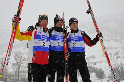 Winners celebrate including (from left) Germany's Steffen Tepel (third), USA's Todd Lodwick (first) and Austria's Tomaz Druml (second) after a snowy FIS Nordic Combined Continental Cup on the Olympic trails at Soldier Hollow near Midway, Utah. (U.S. Ski Team/Tom Kelly)
