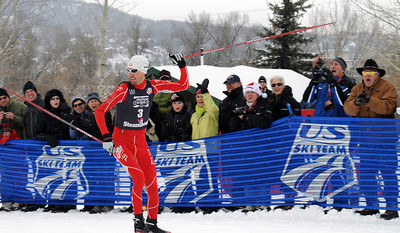 Hometown hero Johnny Spillane skis to victory at the nordic combined Olympic Trials in front of friends and family at Howelsen Hill in Steamboat Springs, CO. (U.S. Ski Team/Tom Kelly)