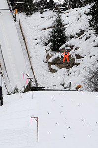 Willy Graves soars as nordic combined skiers prepare for the nordic combined Olympic Trials at Howelsen Hill in Steamboat Springs, CO. (U.S. Ski Team/Tom Kelly)