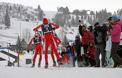 Johnny Spillane leads a parade of three World Champions, leading Billy Demong and Todd Lodwick at the Olympic Trials at Howelsen Hill in Steamboat Springs, CO. (U.S. Ski Team/Tom Kelly)
